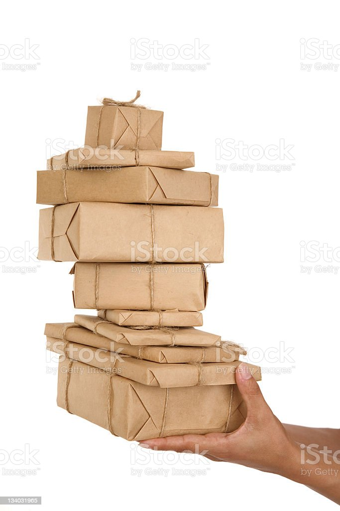 gift box in hand girls royalty-free stock photo