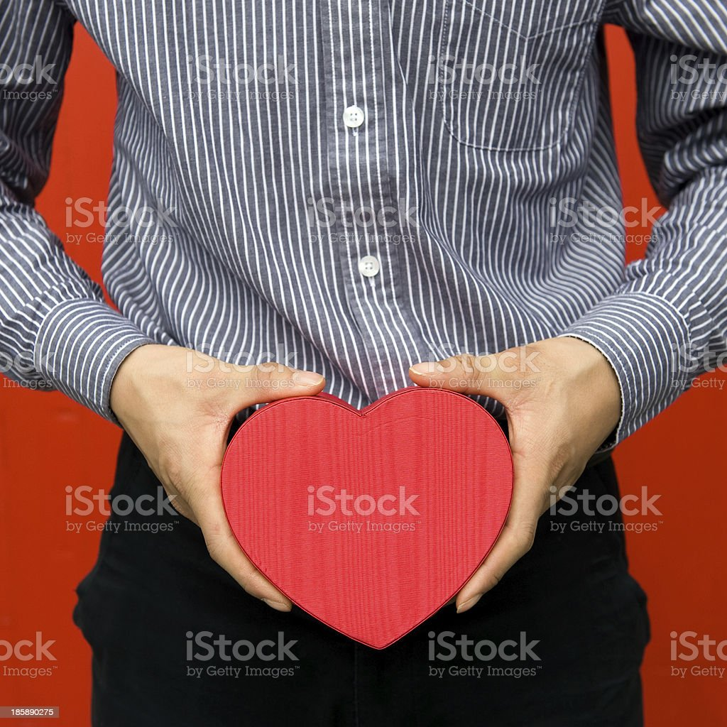gift box in hands royalty-free stock photo