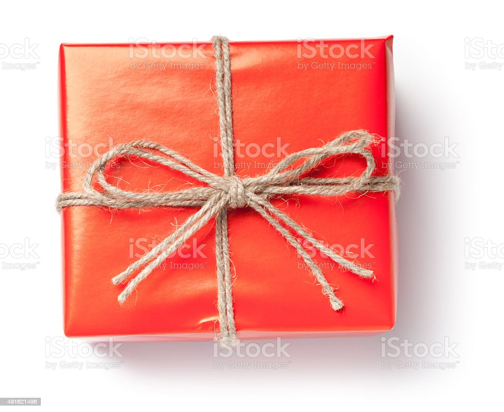 Gift box in red paper on white stock photo