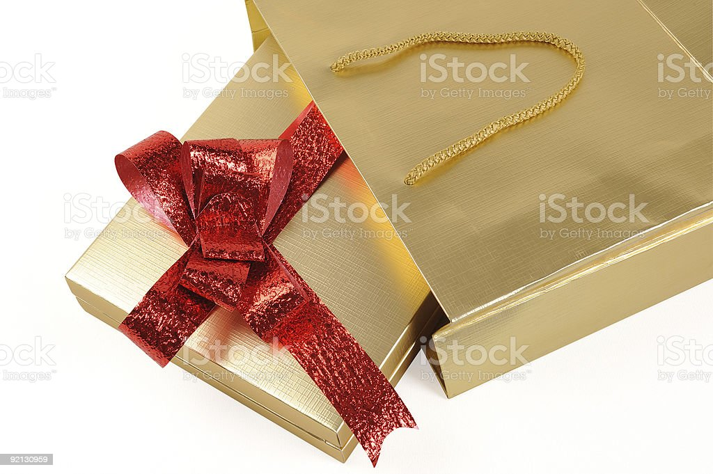 gift box in the bag stock photo