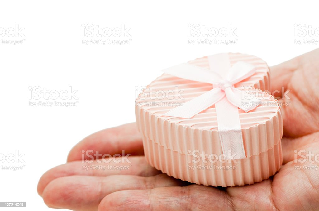 Gift box in the hand royalty-free stock photo