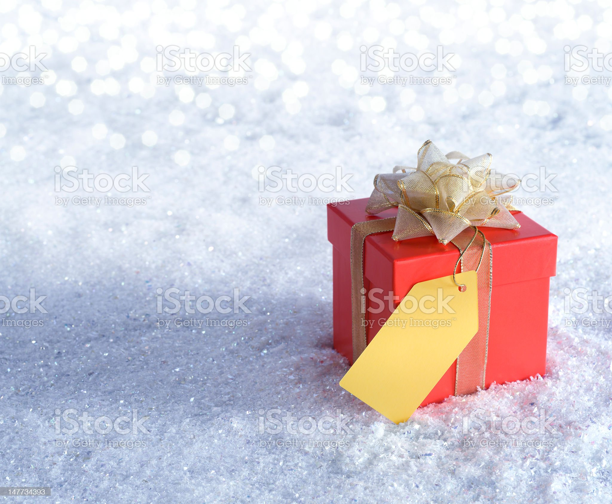 Gift Box in the Snow royalty-free stock photo