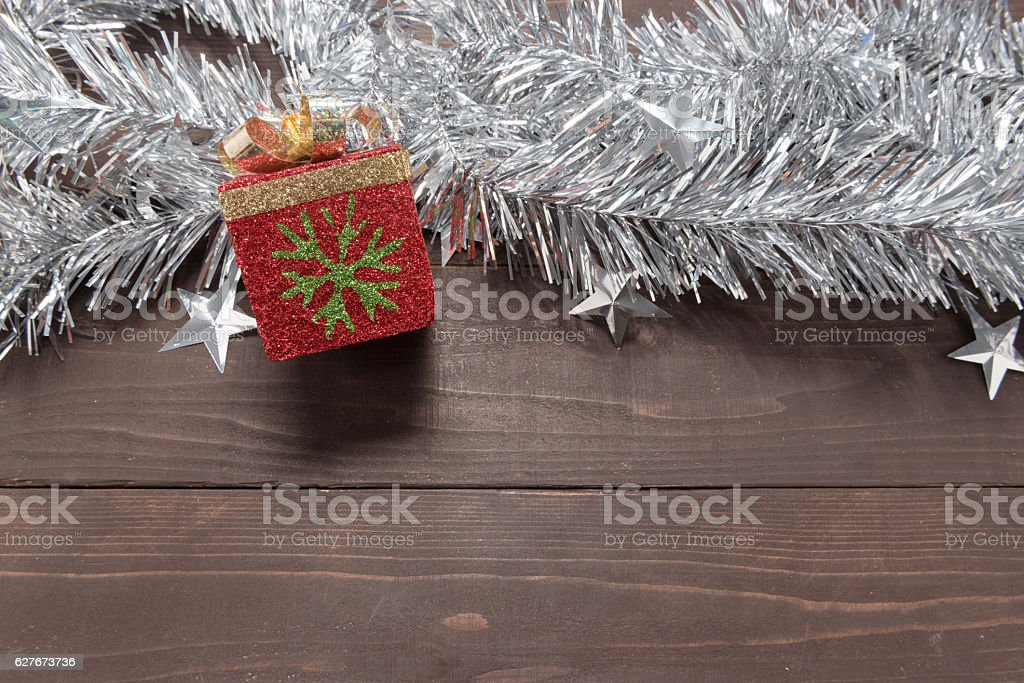 Gift box is on the wooden background with empty space stock photo