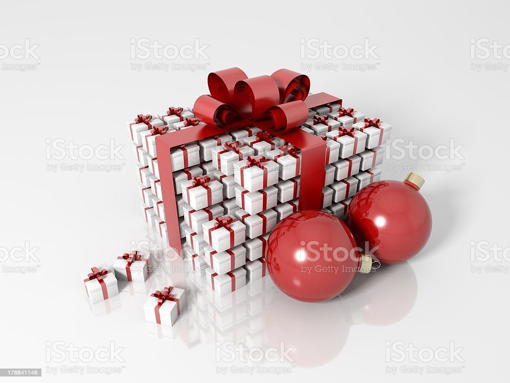 Gift box made of little boxes and christmas balls royalty-free stock photo