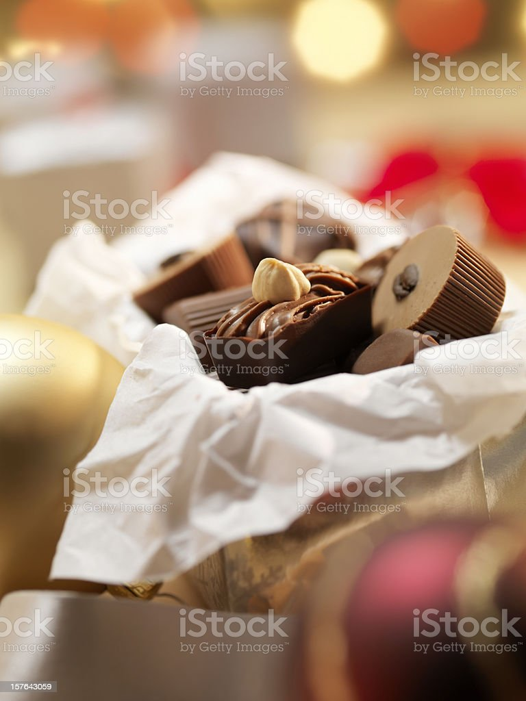 Gift Box of Chocolate Truffles royalty-free stock photo