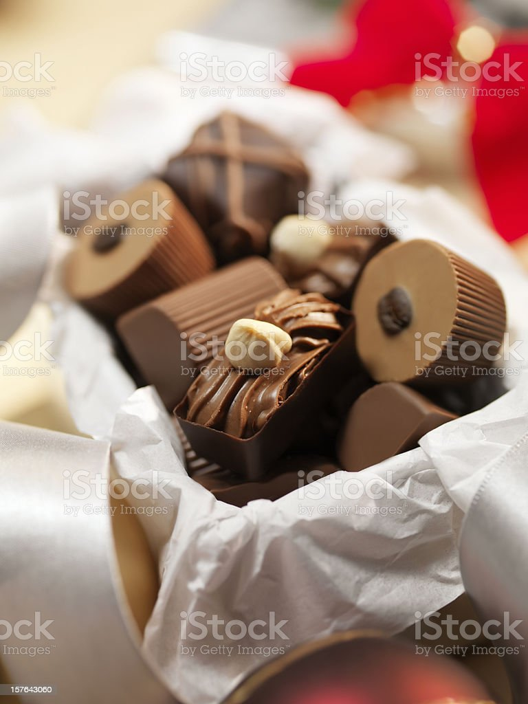 Gift Box of Chocolate Truffles stock photo