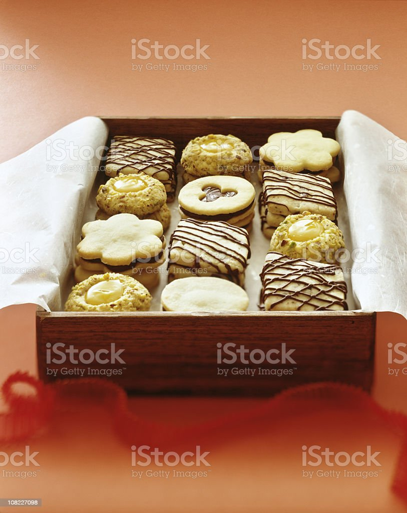 Gift Box of Fancy Shortbread Cookies royalty-free stock photo