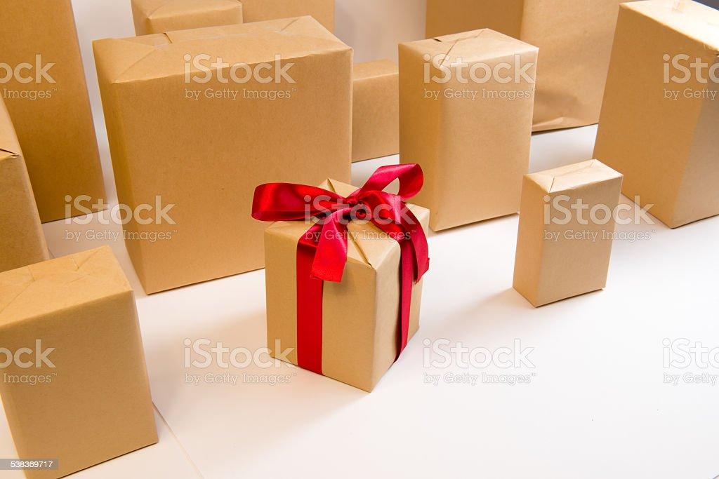 Pudełko na prezent rzędu przedniego zbiór zdjęć royalty-free