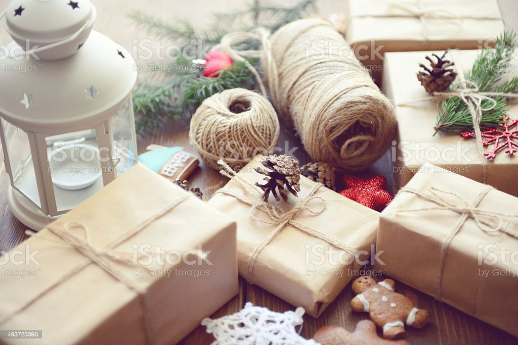 gift box on a wooden background stock photo