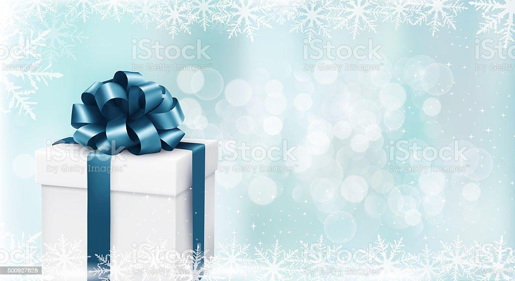 Gift box on christmas background stock photo