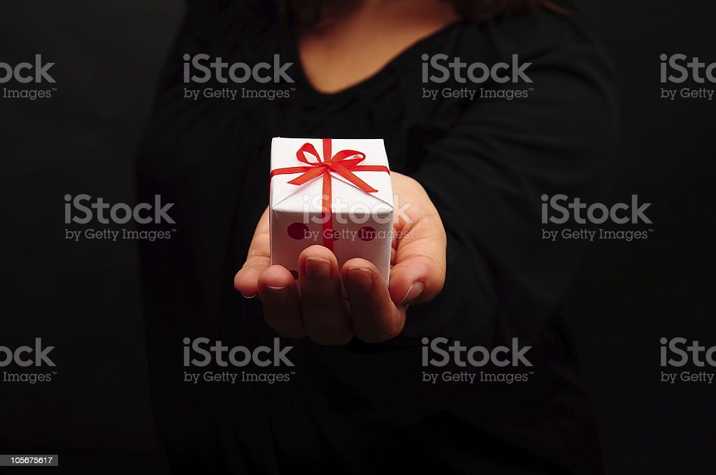 gift box on hand royalty-free stock photo