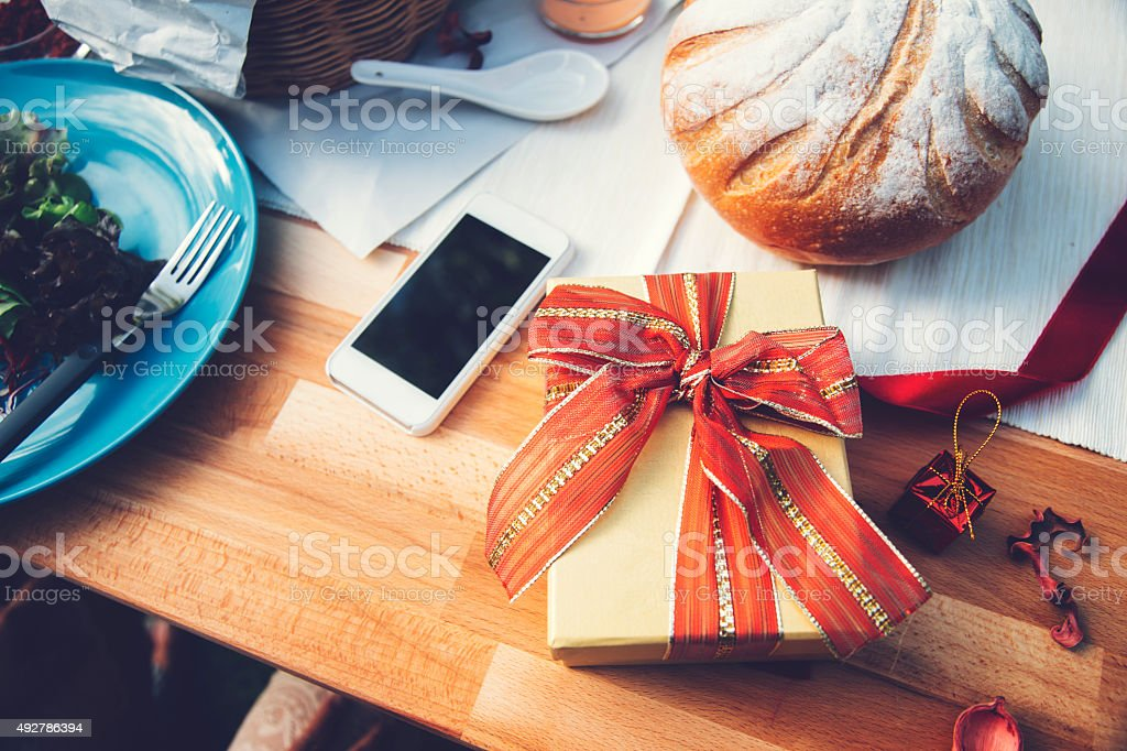 Gift box on table stock photo