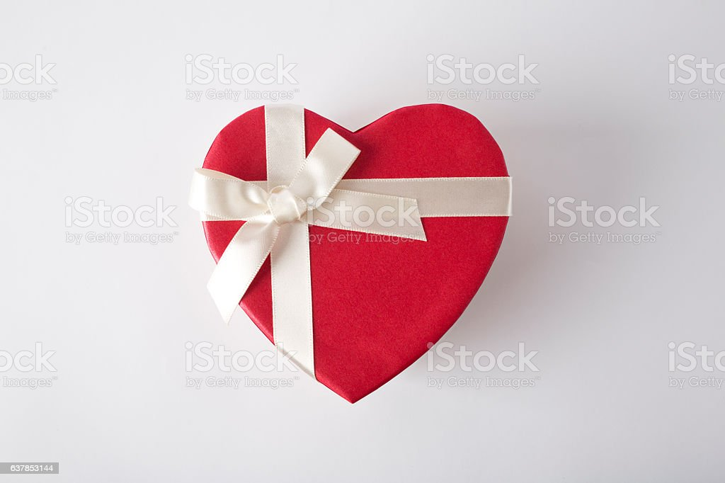 Gift box on the white background. Valentines Day gift. Isolated. stock photo