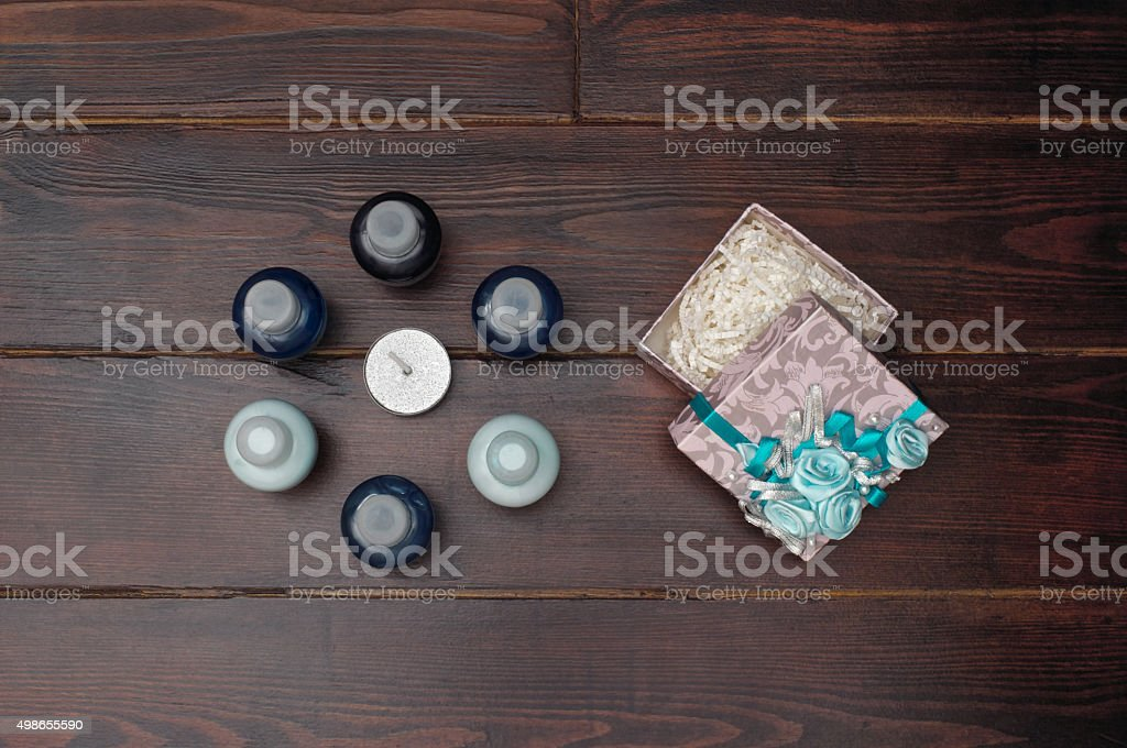 Gift box on the wooden table stock photo