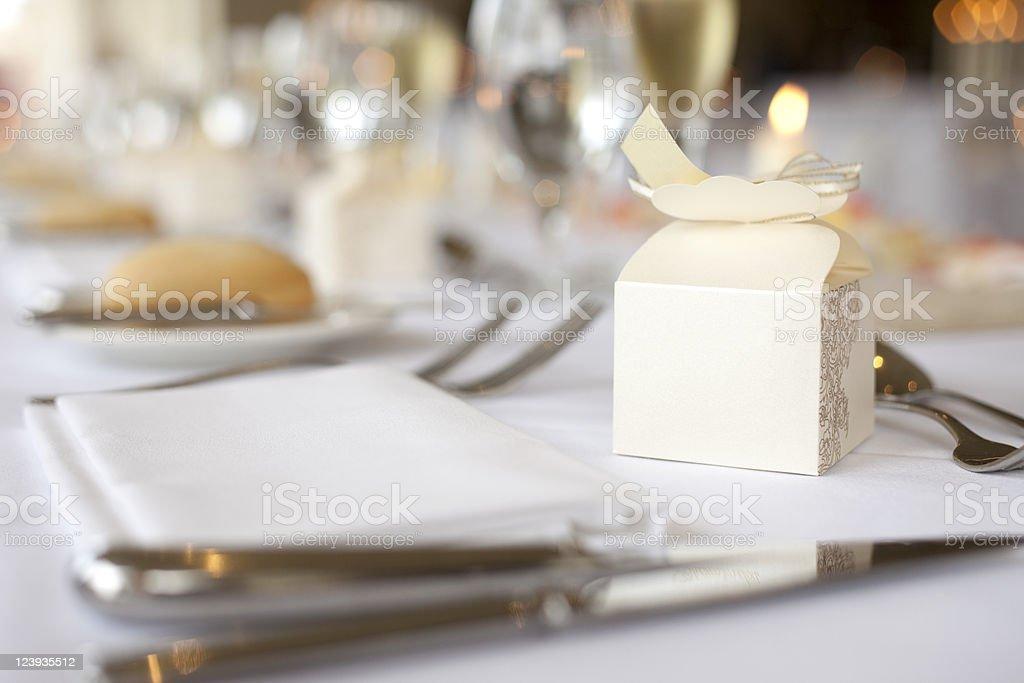 Gift box on wedding table stock photo
