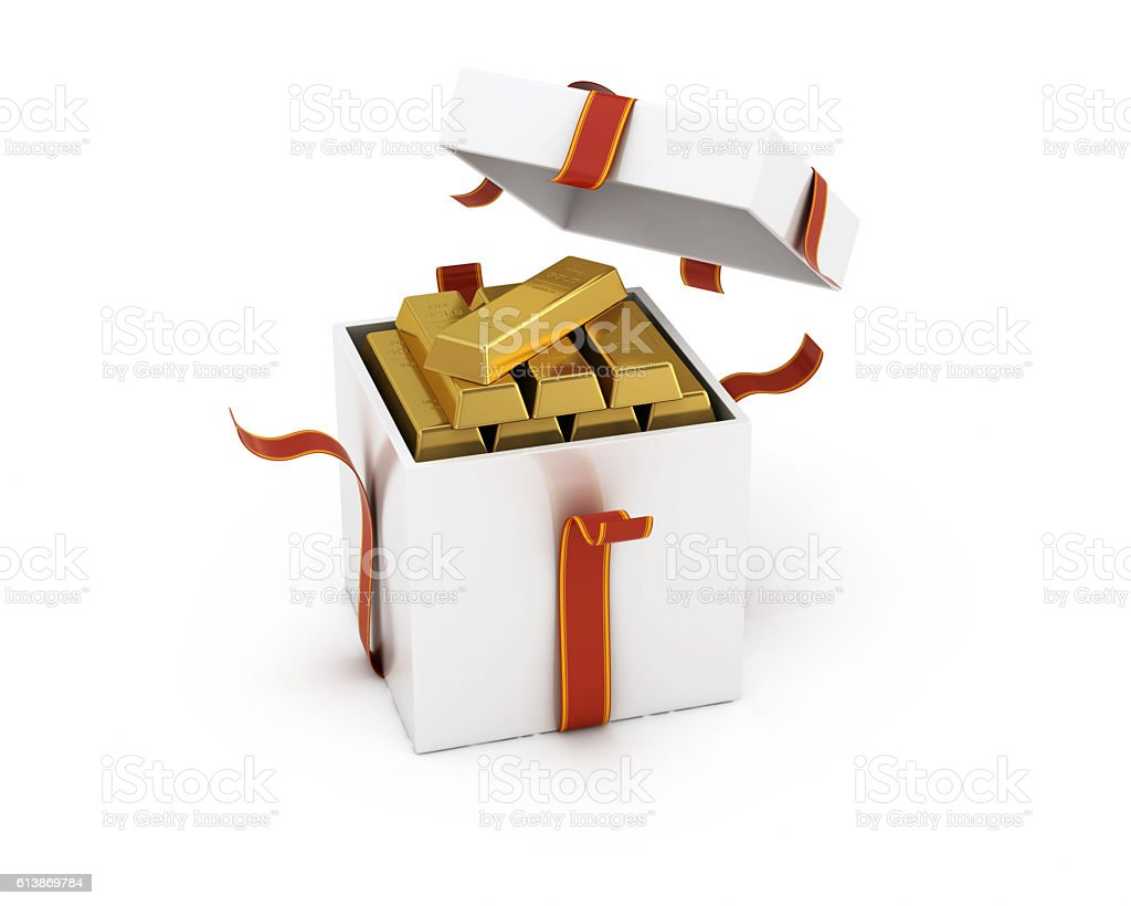 Gift Box Open in Ingots Isolated White Background stock photo