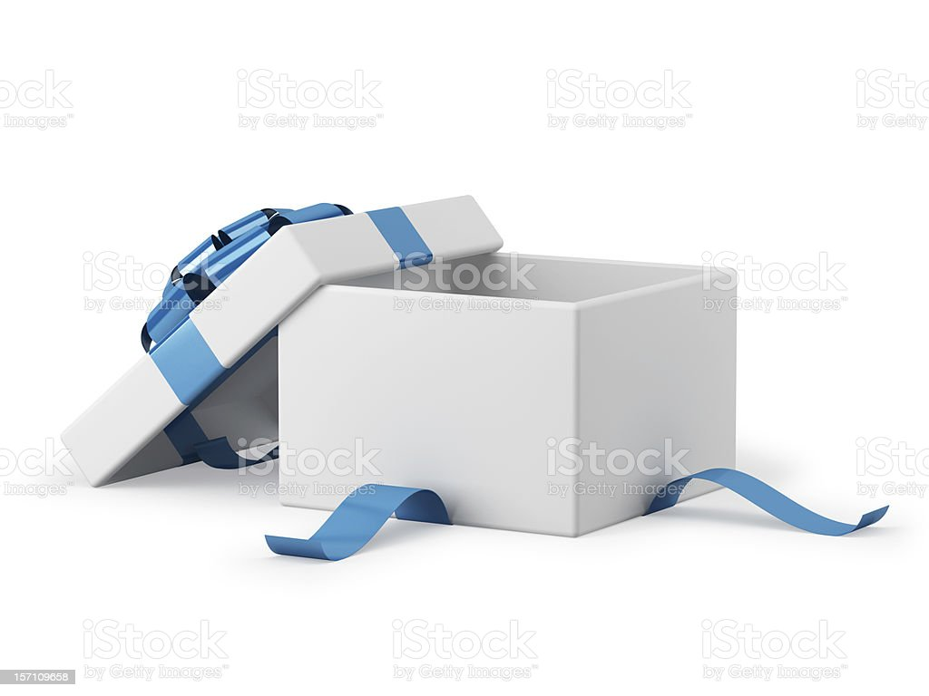 Gift box open with blue ribbon bow stock photo