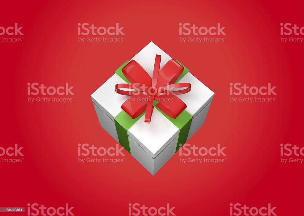 Gift Box - Red background royalty-free stock photo