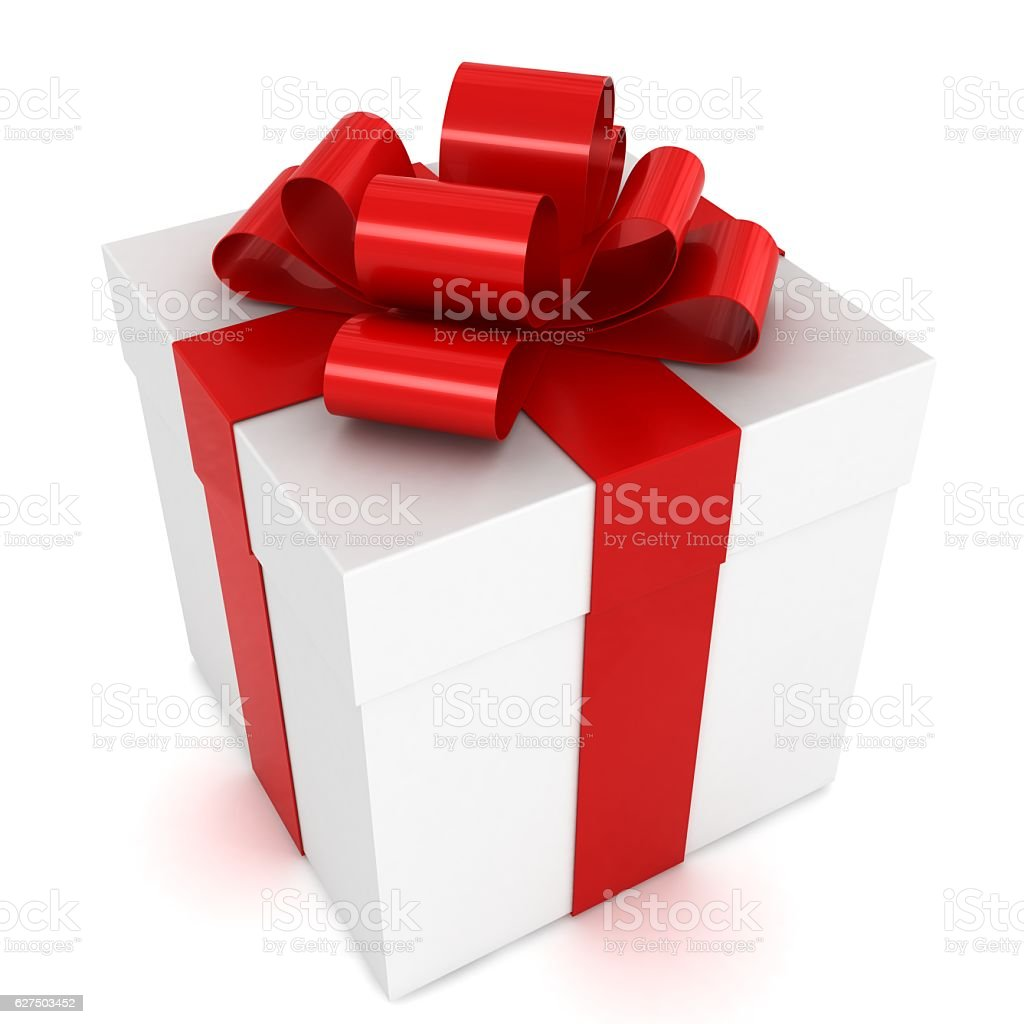 Gift box red ribbon bow stock photo