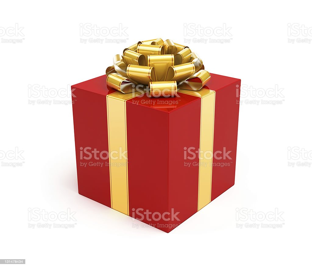 Gift Box Red with Gold Ribbon Bow stock photo