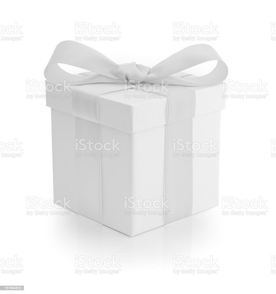 Gift Box - White Ribbon stock photo