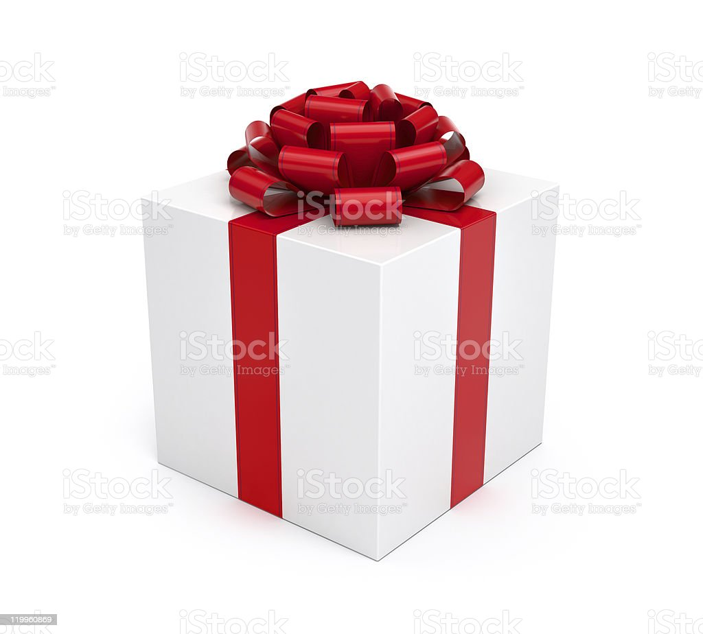 Gift box white with red ribbon and bow stock photo