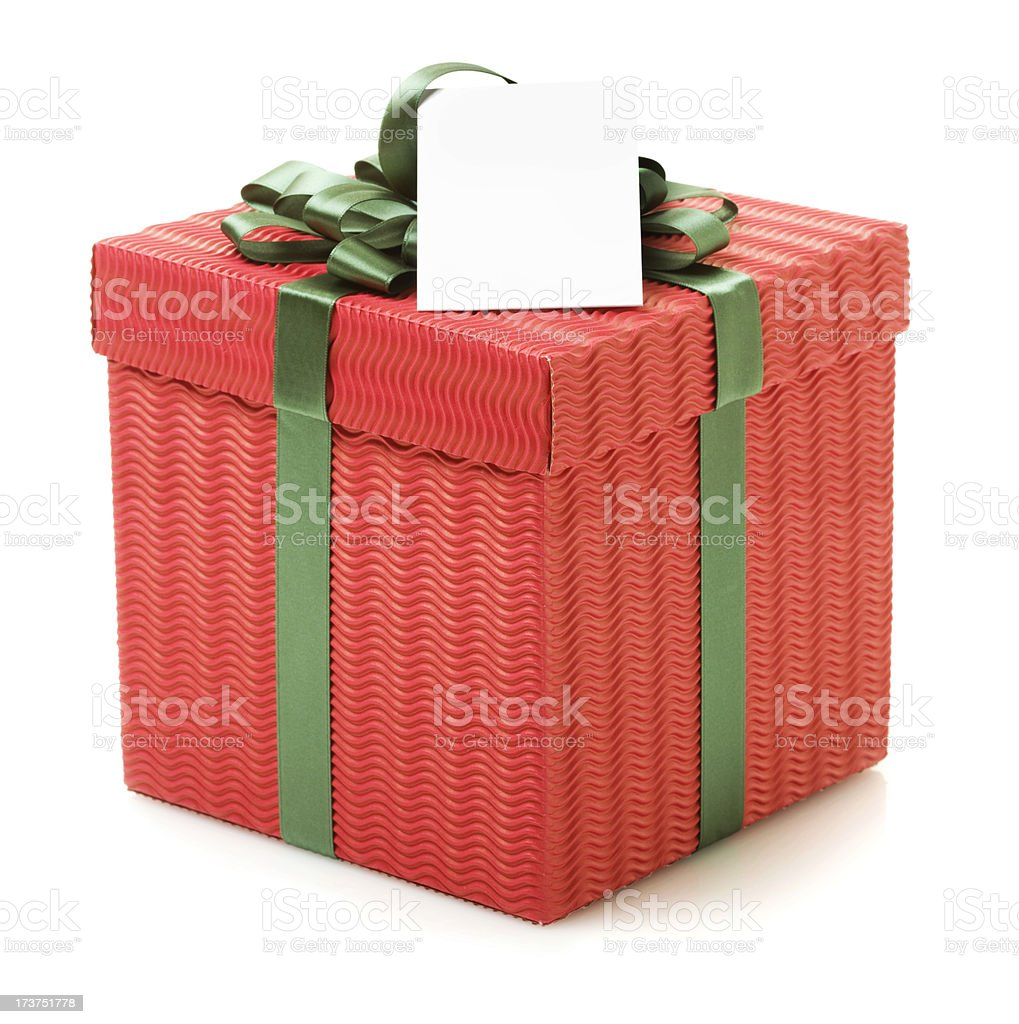 Gift Box with a Blank white tag (XXL) royalty-free stock photo