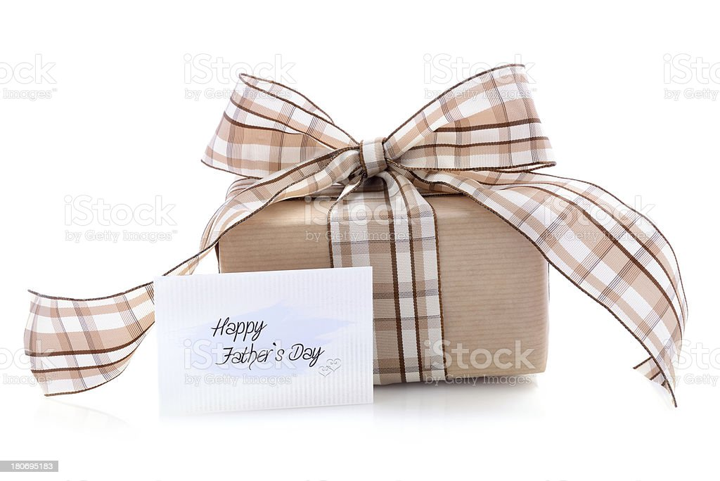 Gift box with a fathers day card on white stock photo