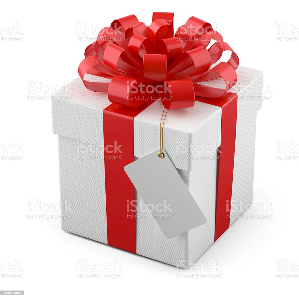 Gift box with a red bow and tag stock photo