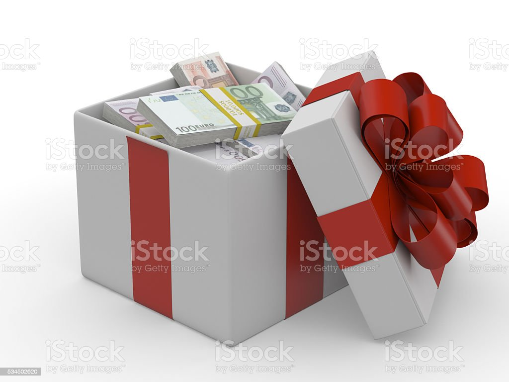 Gift box with banknote of euro stock photo