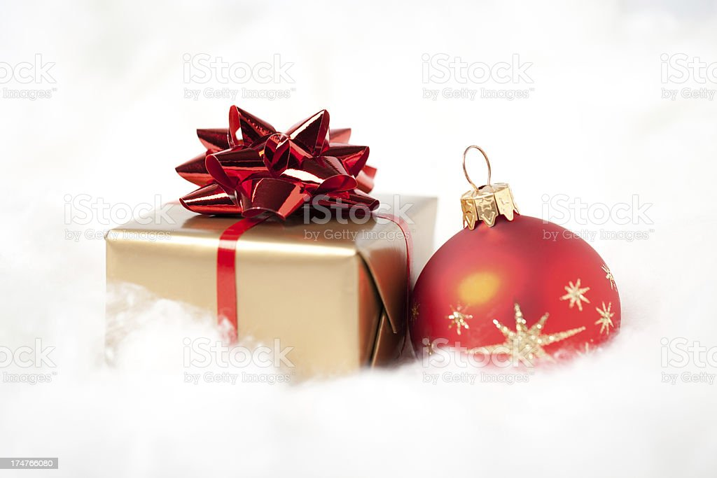 Gift box with bauble stock photo