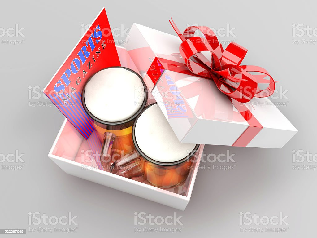 gift box with beer mugs and sports magazine stock photo