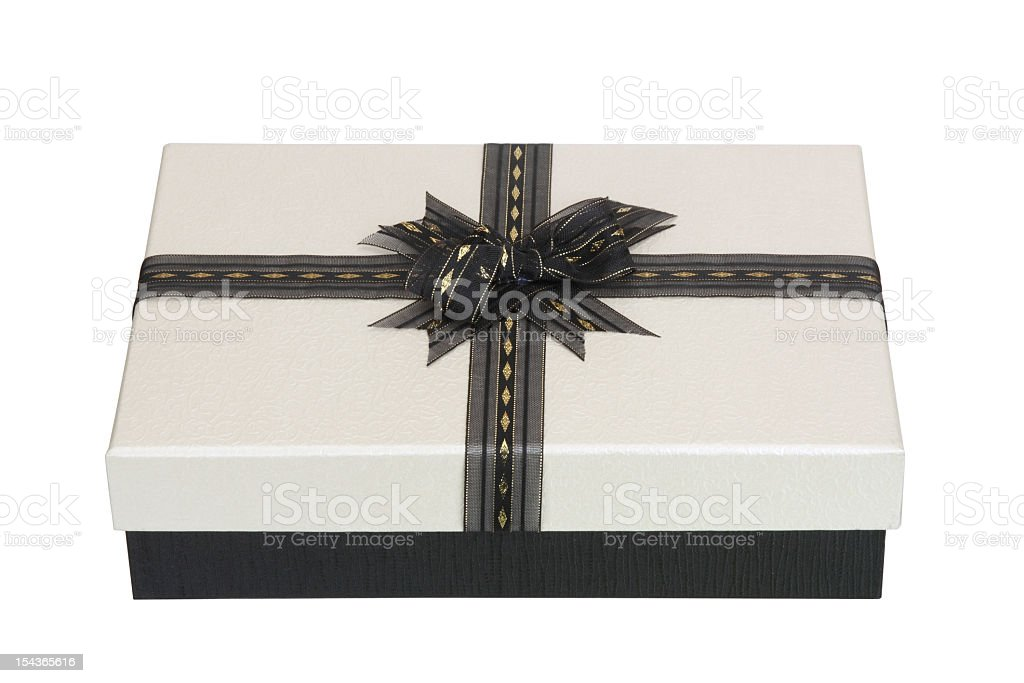 Gift box with black ribbon on white background royalty-free stock photo
