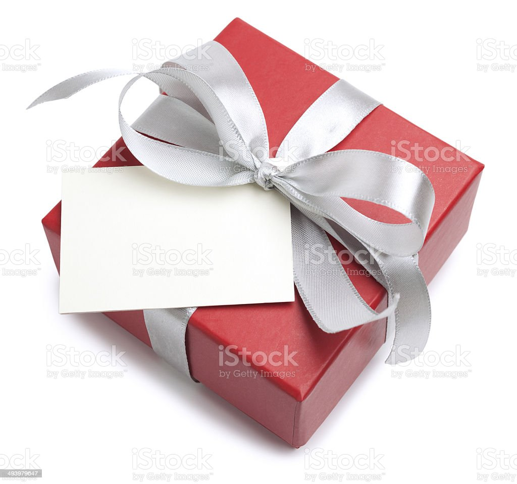 Gift box with blank card royalty-free stock photo
