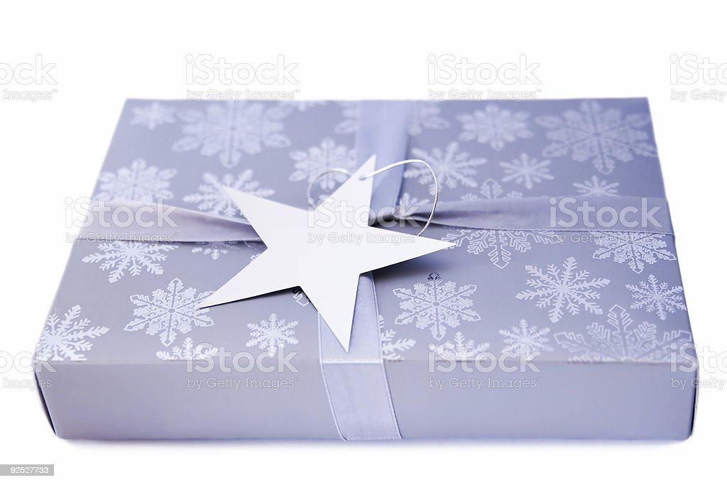 Gift box with blank tag. royalty-free stock photo