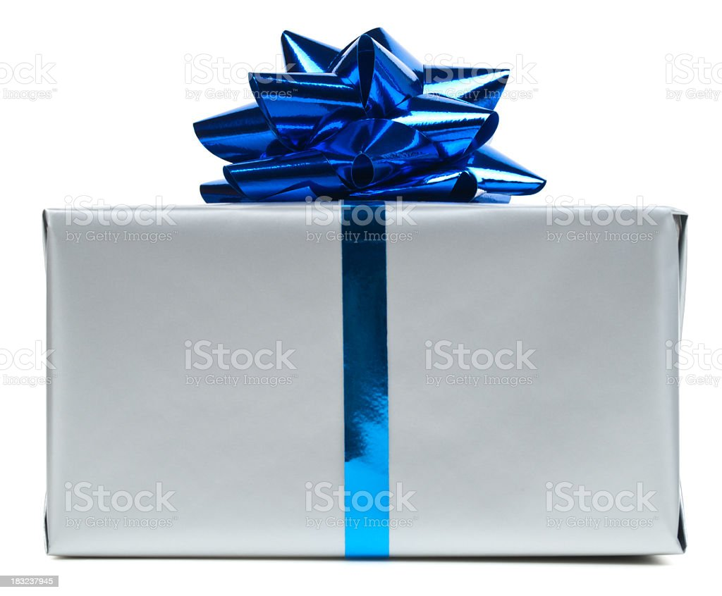 Gift box with blue bow isolated on white background stock photo