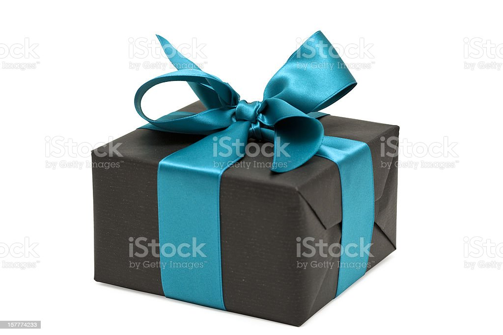 gift box with blue bow (clipping path) royalty-free stock photo