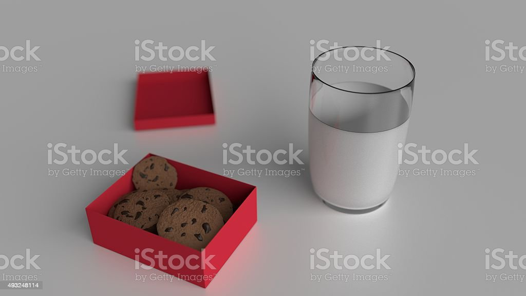 Gift box with cookies and milk stock photo