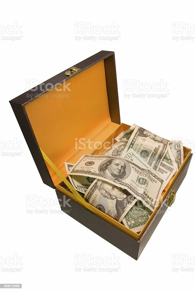 Gift box with dollars royalty-free stock photo