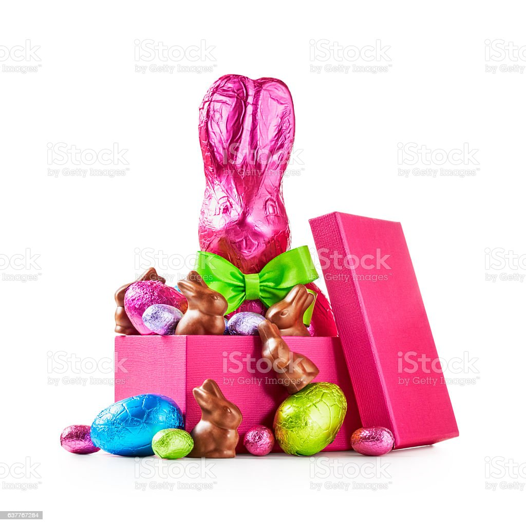 Gift box with easter eggs and bunny stock photo