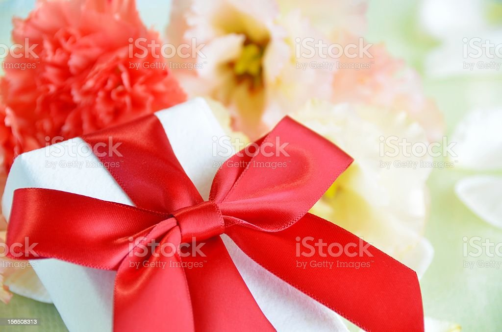 gift box with flowers royalty-free stock photo