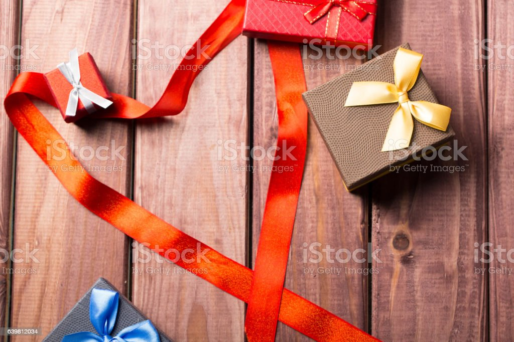 gift box with gifts for the holidays stock photo
