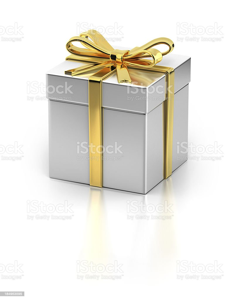 Gift Box with Gold Ribbon royalty-free stock photo