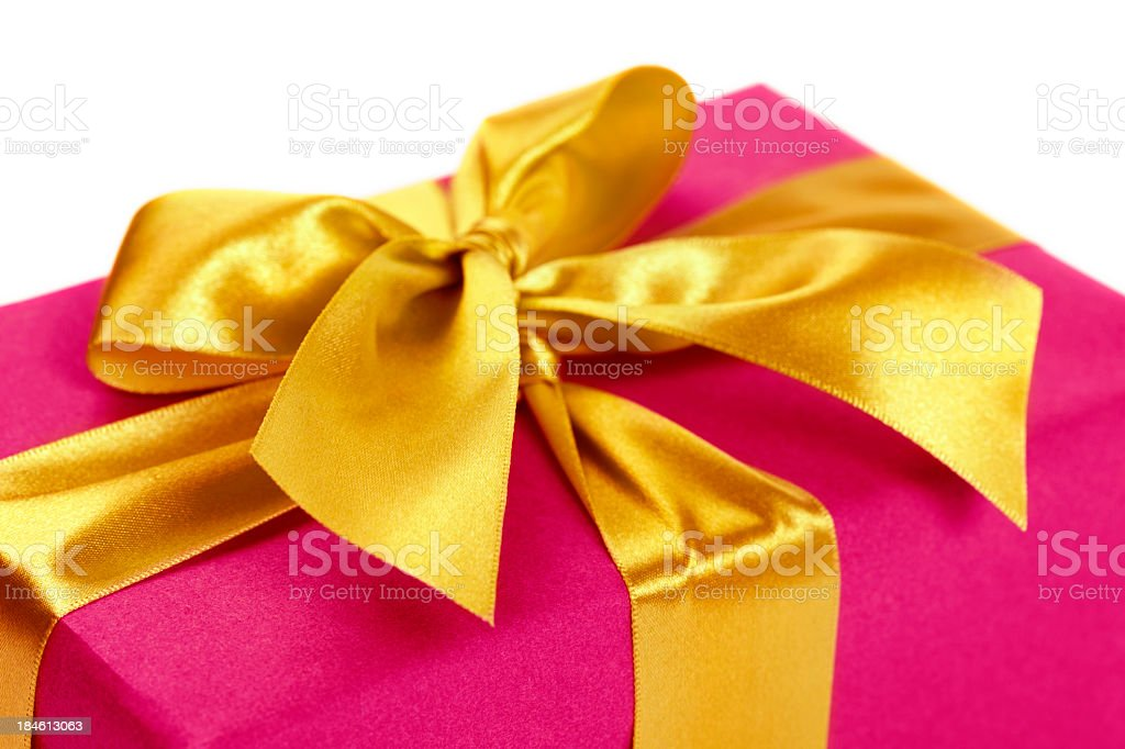Gift box with golden ribbon royalty-free stock photo