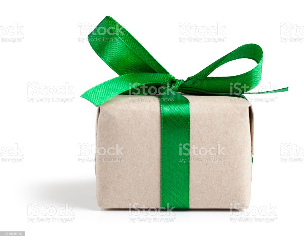 Gift box with green ribbon on white stock photo