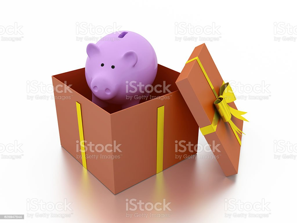 Gift Box with Piggy Bank stock photo