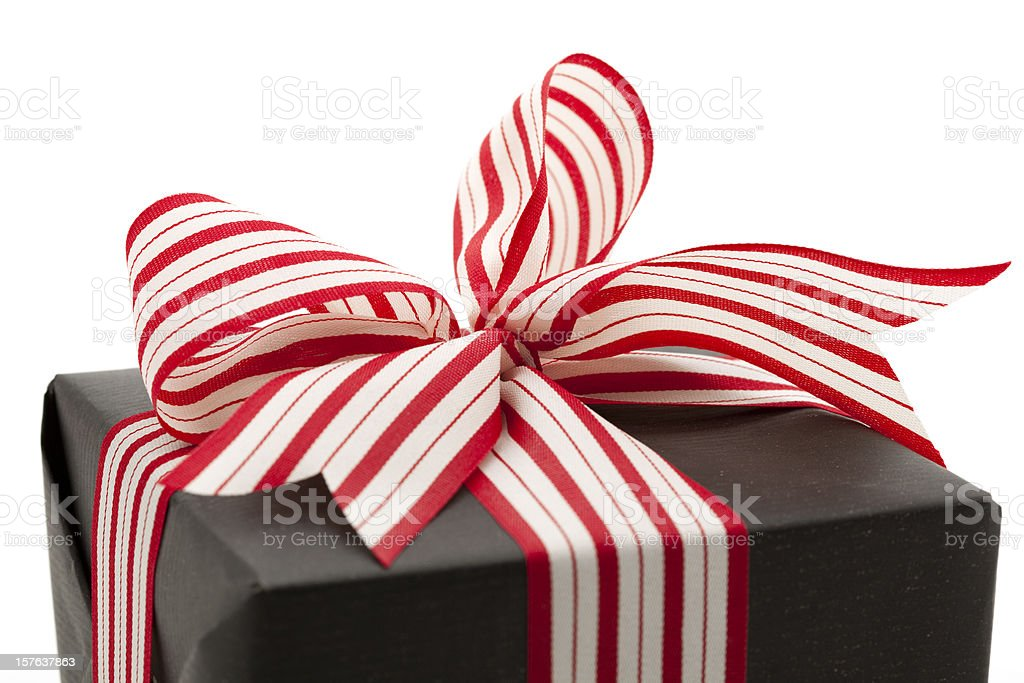 gift box with red and white bow royalty-free stock photo
