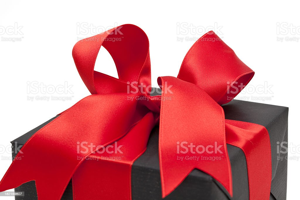 gift box with red bow (clipping path ) royalty-free stock photo