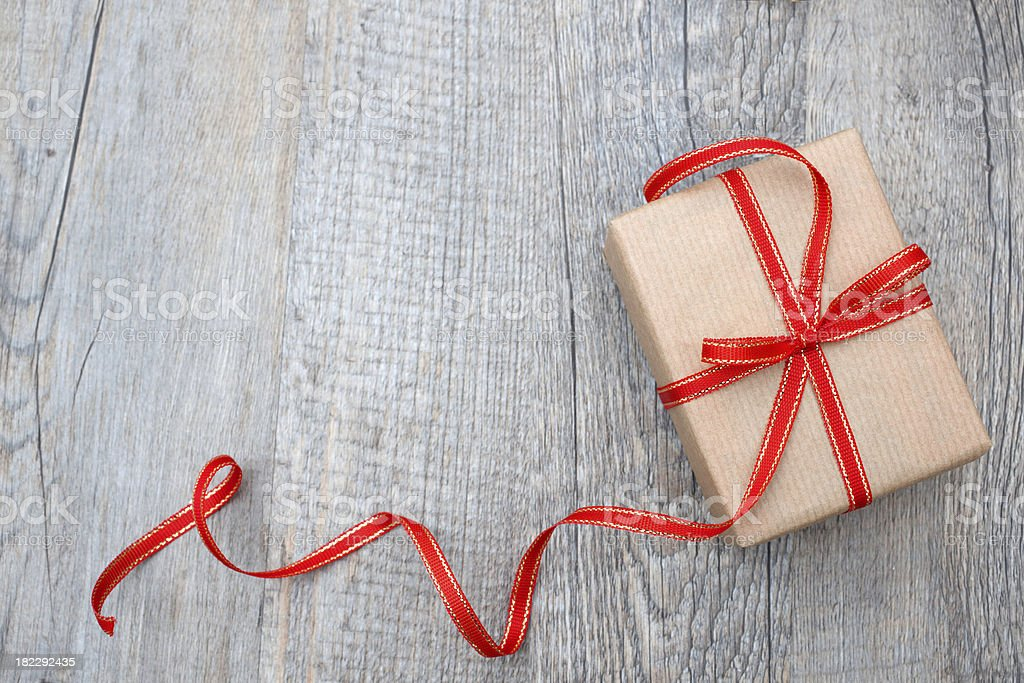 Gift box with red bow stock photo
