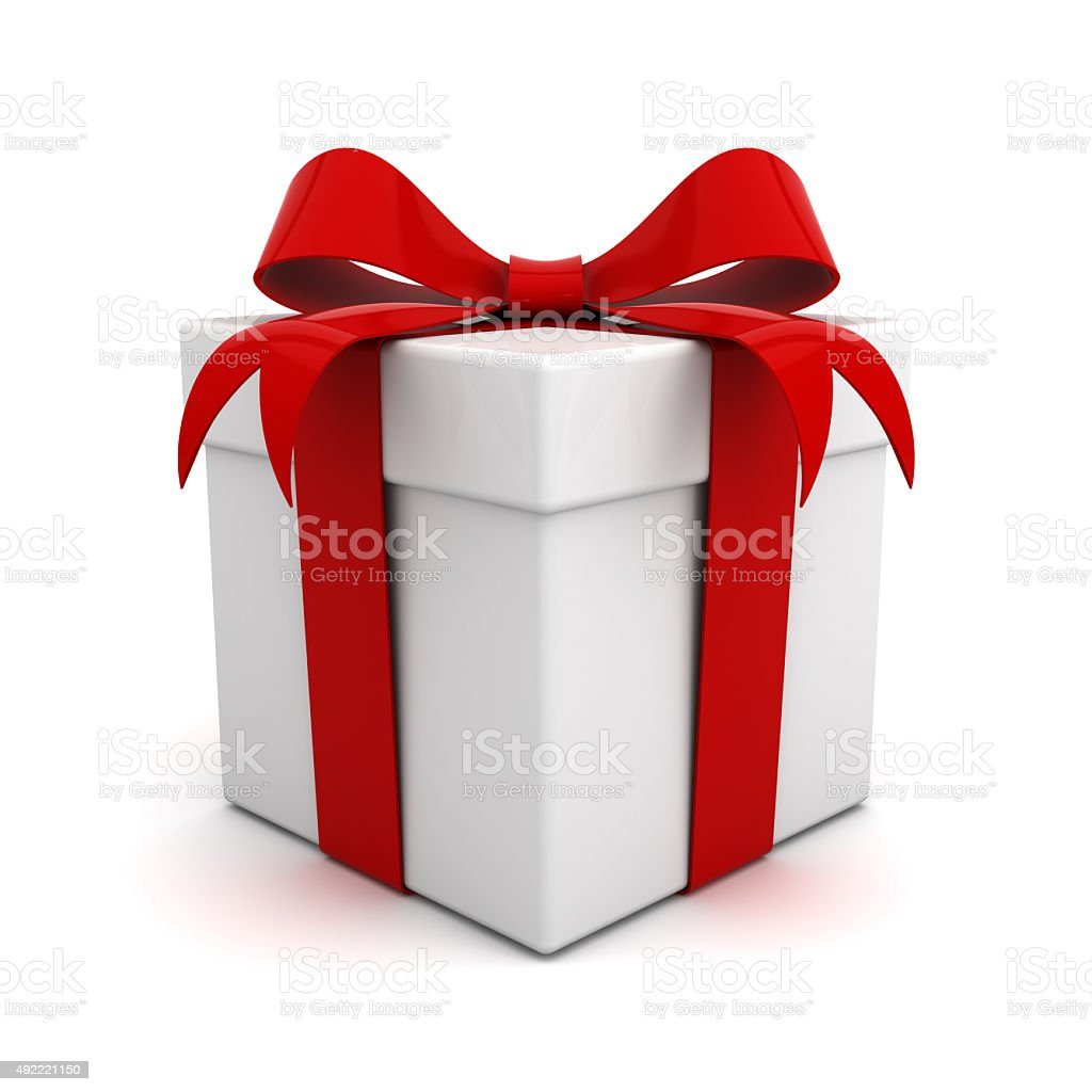 Gift box with red ribbon bow stock photo istock